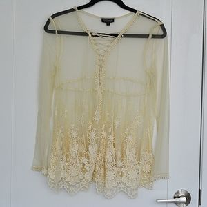 Topshop Sheer Lace Top